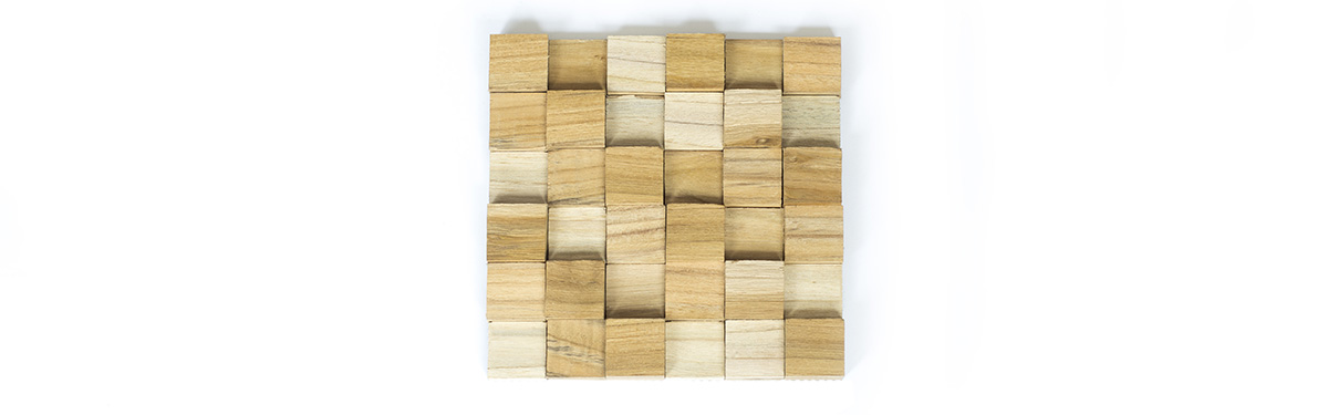 Teak Wooden wall mosaic Cube